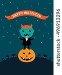 happy halloween vertical card.... | Shutterstock .eps vector #496913296