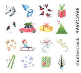 set of colorful christmas... | Shutterstock .eps vector #496913968