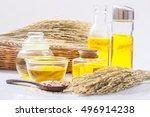 rice bran oil in bottle glass... | Shutterstock . vector #496914238