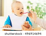 close up of a mother feeding... | Shutterstock . vector #496914694