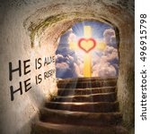 Small photo of Way to heaven. Biblical story, metaphor from New Testament. He is risen. He is alive. Digital artwork on religion theme.
