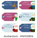 set of vector christmas new... | Shutterstock .eps vector #496920856