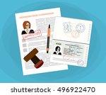 visa application flat... | Shutterstock .eps vector #496922470