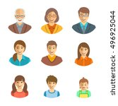 family members happy faces.... | Shutterstock .eps vector #496925044