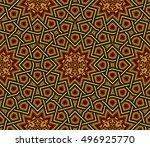 islamic pattern  golden   black ... | Shutterstock .eps vector #496925770