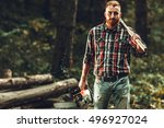 lumberjack worker standing  in... | Shutterstock . vector #496927024
