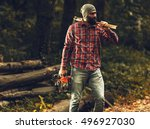 Lumberjack Worker Standing  In...