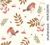 seamless seasonal pattern with... | Shutterstock . vector #496928590