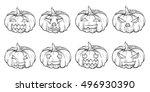 set of halloween hand drawn... | Shutterstock .eps vector #496930390