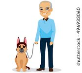 happy senior man with german... | Shutterstock .eps vector #496933060
