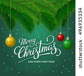merry christmas and happy new... | Shutterstock .eps vector #496935334