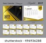 set gold desk calendar 2017... | Shutterstock .eps vector #496936288