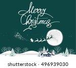 merry christmas lettering... | Shutterstock .eps vector #496939030