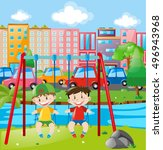two boys on swing in the city... | Shutterstock .eps vector #496943968