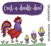 cartoon rooster. cock a doodle... | Shutterstock .eps vector #496949560