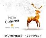 merry christmas and happy new... | Shutterstock .eps vector #496949884