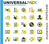 set of 25 universal icons on... | Shutterstock .eps vector #496952440