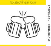 toasting beer glasses linear... | Shutterstock .eps vector #496953826