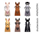 Vector Hipster Horse Heads In...