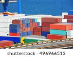 port cargo crane and container... | Shutterstock . vector #496966513
