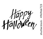 happy halloween  hand drawn ... | Shutterstock .eps vector #496966723
