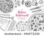 italian cuisine top view frame. ... | Shutterstock .eps vector #496972240