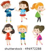 boys and girls with happy face... | Shutterstock .eps vector #496972288