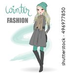 cute winter  fashion  cartoon... | Shutterstock .eps vector #496977850