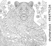 stylized grizzly bear among... | Shutterstock .eps vector #496979134