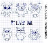 vector set with cute owls kids... | Shutterstock .eps vector #496979704