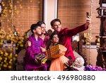 asian indian family taking... | Shutterstock . vector #496980880