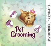 yorkshire terrier with grooming ... | Shutterstock .eps vector #496981546