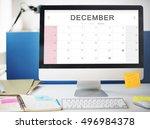 december monthly calendar... | Shutterstock . vector #496984378