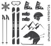 set of skiing equipment... | Shutterstock .eps vector #496984726
