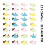 set with cute babies in a wrap  ... | Shutterstock . vector #496987633