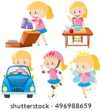 girl in pink doing different... | Shutterstock .eps vector #496988659