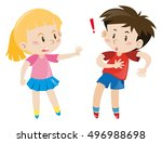 girl and boy together... | Shutterstock .eps vector #496988698