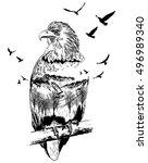 vector double exposure  eagle... | Shutterstock .eps vector #496989340