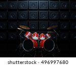 Red Drum Set In A Dark Room  O...