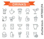 drink icon set  thin line  flat ... | Shutterstock .eps vector #497000194