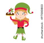 santa claus kid cartoon elf... | Shutterstock .eps vector #497000803