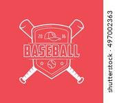 baseball emblem line icon on... | Shutterstock .eps vector #497002363