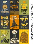 set of happy halloween greeting ... | Shutterstock .eps vector #497002960