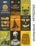set of happy halloween greeting ... | Shutterstock .eps vector #497002960