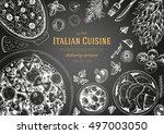 italian cuisine top view frame. ... | Shutterstock .eps vector #497003050