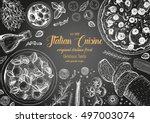 italian cuisine top view... | Shutterstock .eps vector #497003074