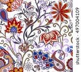 seamless pattern in ethnic...   Shutterstock .eps vector #497004109