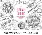 italian cuisine top view frame. ... | Shutterstock .eps vector #497005060