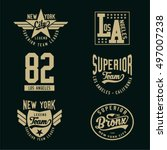 set of vintage varsity graphics ... | Shutterstock .eps vector #497007238