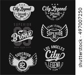 set of vintage varsity graphics ... | Shutterstock .eps vector #497007250